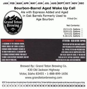 Grand Teton Brewing Company Bourbon-barrel Aged Wake Up Call