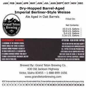 Grand Teton Brewing Company Dry-hopped Barrel-aged Imperial Berliner