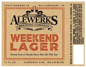 Alewerks Brewing Company Weekend Lager