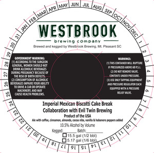 Westbrook Brewing Company Imperial Mexican Biscotti Cake Break
