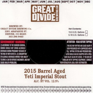 Great Divide Brewing Company Barrel Aged Yeti Imperial Stout