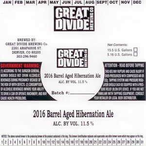 Great Divide Brewing Company Barrel Aged Hibernation Ale