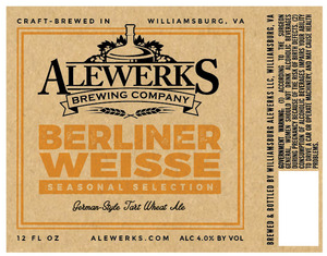 Williamsburg Alewerks LLC Alewerks Berliner Weisse
