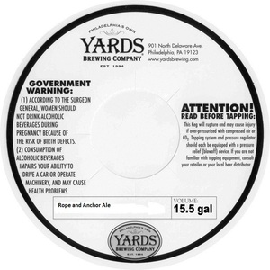 Yards Brewing Company Rope And Anchor Ale