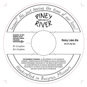 Piney River Brewing Co. Rainy Lake
