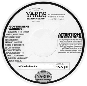 Yards Brewing Company Mfk India Pale Ale