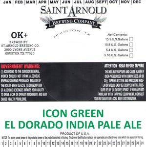 Saint Arnold Brewing Company Icon Green El Dorado IPA