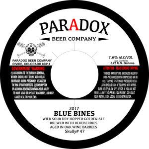 Paradox Beer Company Blue Bines
