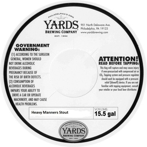 Yards Brewing Company Heavy Manners Stout