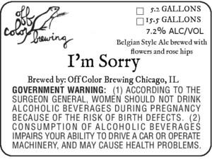 Off Color Brewing I'm Sorry