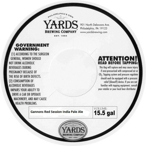 Yards Brewing Company Gannons Red Session India Pale Ale