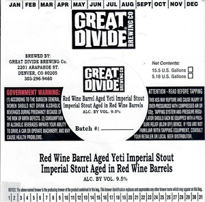 Great Divide Brewing Company Red Wine Barrel Aged Yeti Imperial Stout