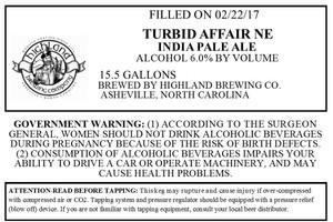 Highland Brewing Co. Turbid Affair Ne IPA