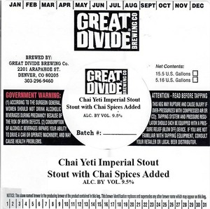 Great Divide Brewing Co. Chai Yeti Imperial Stout