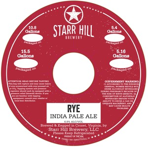 Starr Hill Rye India Pale Ale