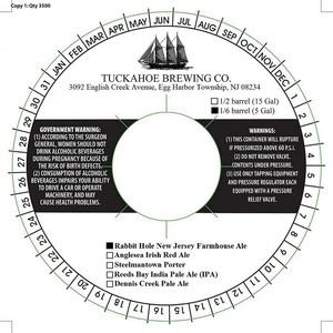 Tuckahoe Brewing Company Rabbit Hole New Jersey Farmhouse Ale