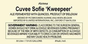 """Alvinne Cuvee Sofie """"kweepeer"""""""