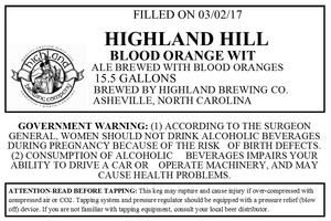 Highland Brewing Co. Highland Hill Blood Orange Wit
