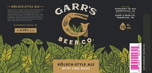 Garr's Beer Co. KÖlsch Style Ale - With Lime Basil