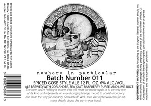 Fort Collins Brewery Nowhere In Particular Batch Number 011