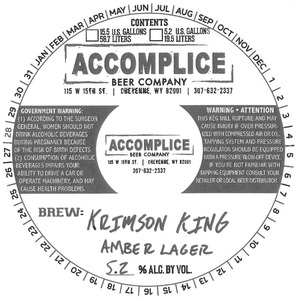 Accomplice Beer Company Krimson King Amber Lager