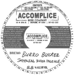 Accomplice Beer Company Burro Bucker Imperial India Pale Ale