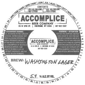 Accomplice Beer Company Washington Lager