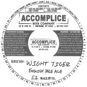 Accomplice Beer Company Wight Tiger English Pale Ale
