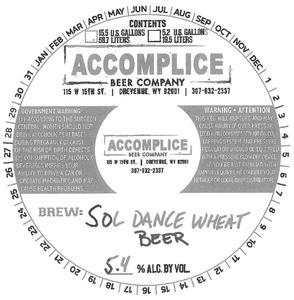 Accomplice Beer Company Sol Dance Wheat Beer