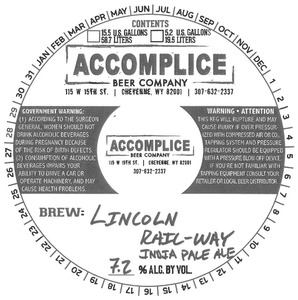 Accomplice Beer Company Lincoln Rail-way India Pale Ale