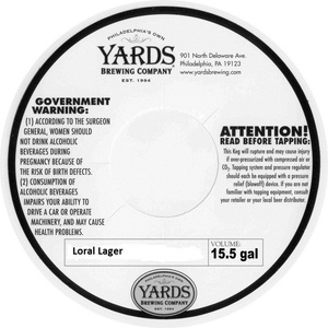 Yards Brewing Company Loral Lager