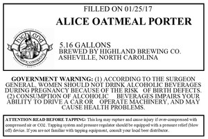 Highland Brewing Co Alice Oatmeal Porter