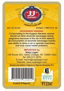 """""""33"""" Export Premium Lager Beer"""